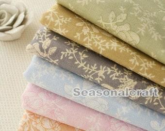 Shabby Chic Fabric Cotton Flower Fabric, Flower Fabric, Twill Vintage Style, Cotton Fabric 1/2 Yard(QT516)