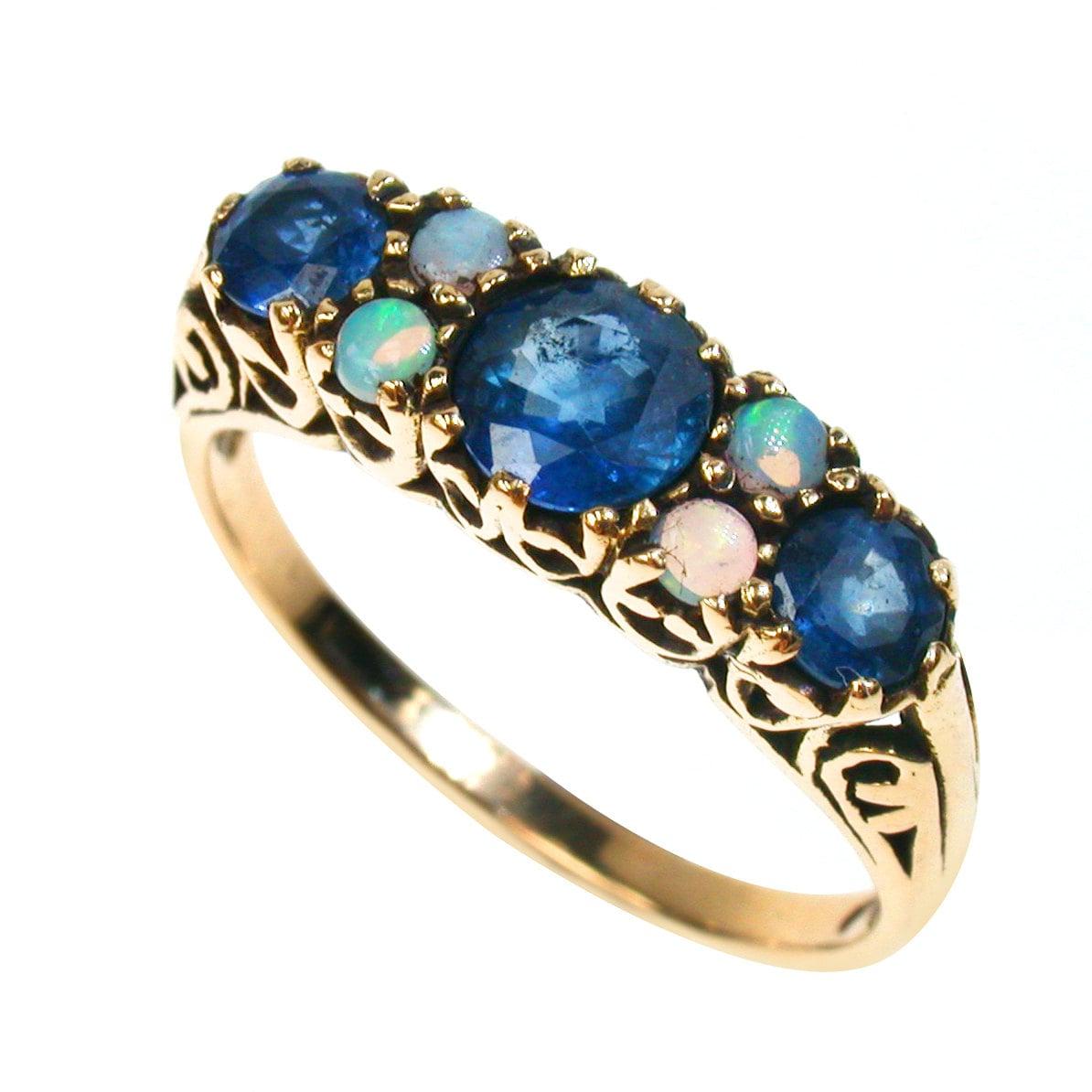 vintage sapphire ring 9ct gold opal ring antique style 9k 10k. Black Bedroom Furniture Sets. Home Design Ideas