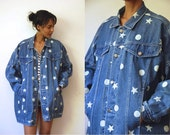 Vtg Denim Stars & Dots Oversize Buttoned Jean Jacket