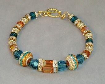 Teal, gold and rhinestone swarovski crystal cube bracelet, vintage style chic blue and golden swarovski bracelet, glitzy stackable boho chic
