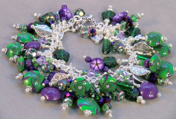 Purple, green and silver boho polymer swirl cha cha bracelet, fringe flower and charm bracelet, lavender and green Happy Cha Cha in silver