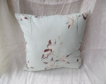 """Modern, retro contemporary duck egg green flowered 16"""" x 16"""" cushion cover, scatter cushion, pillow case"""