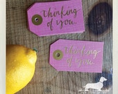 CLEARANCE! 8 Thinking of You. Gift Tags -- (Gold Foil, Pink, Hang Tags, Cute, Gift Wrap, Favor Tags, Modern, Thank You Tags, Get Well Card)