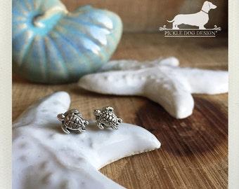 Sea Turtle. Post Earrings -- (Vintage-Style, Turtle Studs, Summer, Ocean, Turtle Earrings, Tropical, Cute, Bridesmaid Jewelry, Under 10)