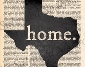 Vintage Dictionary home. Texas print
