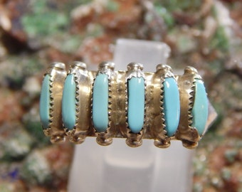 Native American Sterling Turquoise Petit Point Ring signed Paloma