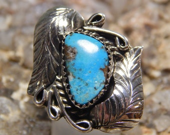 Native American Sterling Turquoise Ring signed Garrison Platero