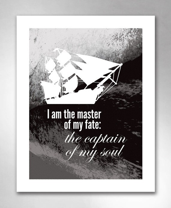 CAPTAIN of my SOUL Invictus Inspirational Black and White Art Print 11x14 by Rob Ozborne