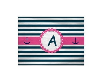 Personalized Pink Nautical Anchor Bath Mat