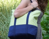 Large Tote Bag, Canvas Diaper Bag, Lined Market Bag, Beach Tote, Reusable Grocery Bag, Handprinted Fabric