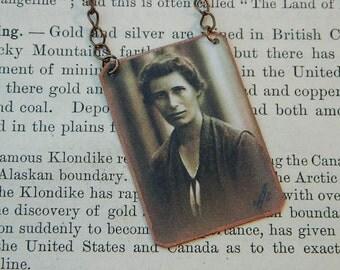 Science necklace Inge Lehmann Women in Science Womens history mixed media jewelry