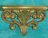 SYROCO HOMCO Elegant Hollywood Regency GOLD Vintage Wall Home Decor Wall Pocket/ Planter