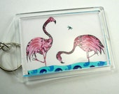 Art key chain, flamingo art, photo keychain, flamingo key chain, pink flamingos