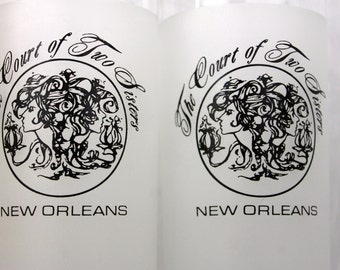 Vintage New Orleans The Court of Two Sisters Frosted Glasses SISTERS Gift French Quarters Glasses