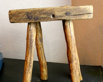 Vintage Milking Stool Wisconsin Farm Weathered Primitive Stool 1800s