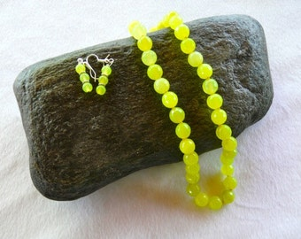 18-20 Yellow Green Faceted Peridot Necklace with Earrings