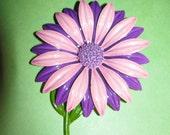 Vintage Pink Purple With Purple Center Enamel Flower Brooch Pin