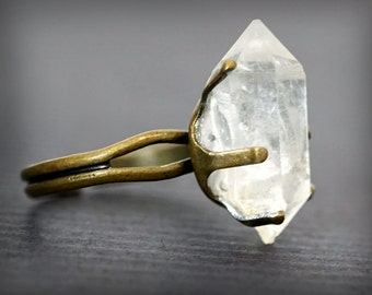 RAW HERKIMER DIAMOND Ring, Crystal Ring, Alternative Diamond Ring