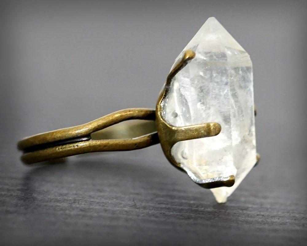 raw herkimer diamond ring crystal ring alternative diamond