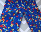 vintage alphabet novelty print elastic waist pants for baby size 6 9 months