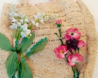 MELLIFLEURS borsa fatta a mano canapa eseguita a uncinetto