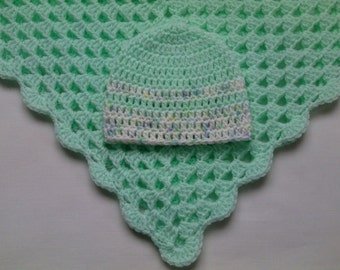 Pattern Crochet Baby Blanket and Baby Hat Set tutorial PDF file