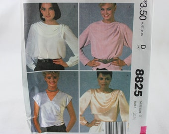 McCall's Sewing Pattern 8825 1980's Blouses Size 8 Uncut