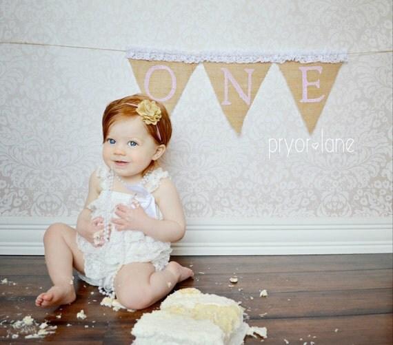First Birthday Burlap Banner AND Headband Cake Smash By