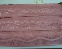 """Vintage (1970s) 1 3/4"""" Wide Jacquard Trim with Scroll Design, Dusty Rose (1 Yd)"""