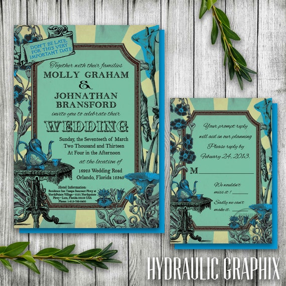 Alice In Wonderland Wedding Invitation And RSVP Mad Hatter