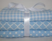 Baby boy- burp cloth set- flannel burp cloths- gender neutral baby- girl burp cloth- blue gingham- changing pad- burp pads- cloth diaper-