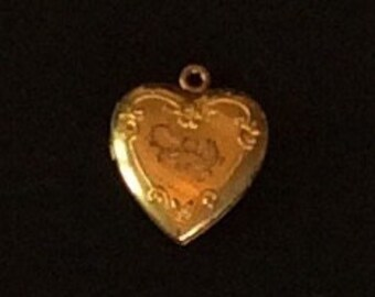 Puffy Heart Locket Pendant Victorian Charm Vintage Jewelry, SUMMER SALE