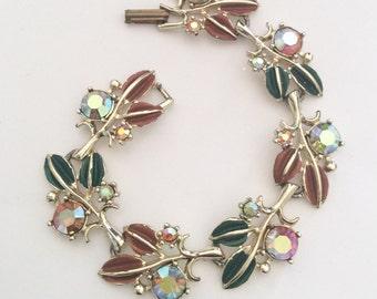 Enamel Rhinestone Bracelet Vintage Jewelry, SUMMER SALE