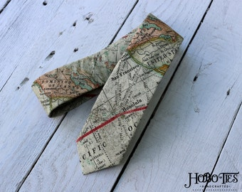 World Map Necktie~Cotton Necktie~Anniversary Gift~Wedding Tie~Mens Necktie~Cotton Tie~Mens Tie~HoBo Ties~Boys Necktie~Boys Tie~Atlas Tie~Map