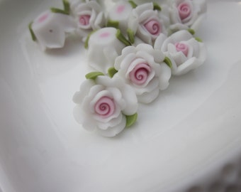 10 pcs 16mm Polymer Clay Flowers,White rose flower, FIMO Pendant Charm craft jewelry Necklaces Earrings Bracelet Accessories
