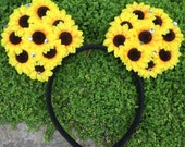 Pre-Order LED Sunflower Dreams Mouse Ears Flower Crown Headband Light up Bow