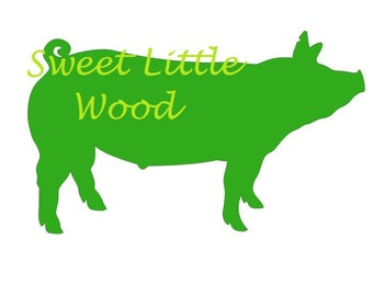 Market Hog- detailed 4-H/FFA pig  3 x digital SVG file in black line with white fill, no fill and color format. PNG included.