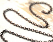 6ft Flat Oval Link 5mm x 6mm Antiqued Brass Cable Chain, Oxidized Solid Brass Hammered Flattened Oval
