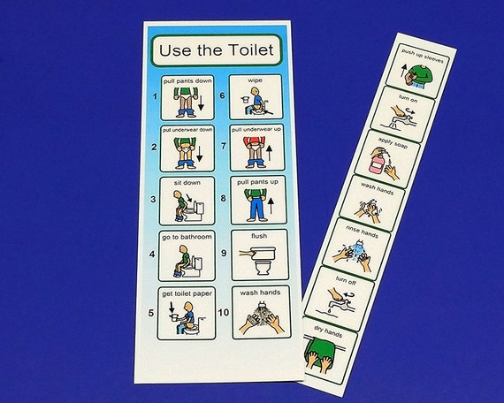 Pecs visual aid for using the toilet laminated hand washing for Using the bathroom social story