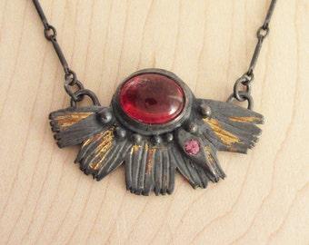 Wildflower Necklace – Sterling Silver with Spessartite Garnet