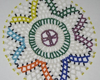 Vintage beaded trivet table mat seed beads handmade