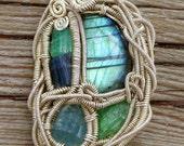 Labradorite, Tourmaline, Tsavorite Sterling Silver Wire Wrapped Pendant Necklace Jewelry