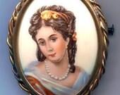 SALE Limoges France Unique Hand Painted Porcelain Lady Portrait Brooch Pin