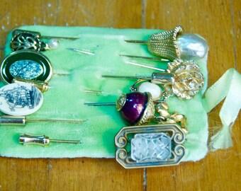 Set of 8 Vintage Stickpins Collection