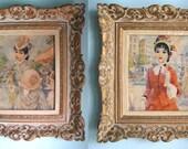 Pair of Framed Vintage Strevens' Pretty Paris Ladies Prints in Hollywood Regency Frames - Turner Mfg. Wall Art 1950s - Victorian Paris