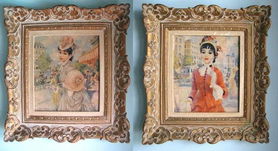 Pair Of Framed Vintage Strevens' Pretty Paris Ladies