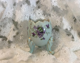 Vintage Hand Painted Porcelain Footed Egg Violets Japan