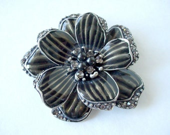 Vintage 90's Enamel Flower Brooch, Floral Brooch, Marked On Back, Excellent Condition