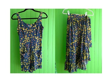 Vintage Traina Boutique 1970s Blue Yellow Stars Shorts Romper Wrap Skirt Beach Holiday