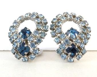 Blue Rhinestone Earrings Silver Tone Metal Vintage Clip On Earrings